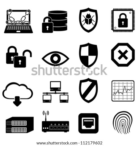 Network and computer security icon set - stock vector