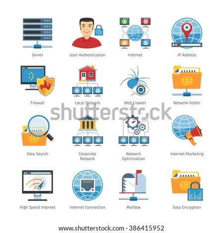 Network And Internet Flat Icons Set. Vector Illustration - stock vector