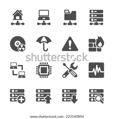 network and server icon set, vector eps10 - stock vector