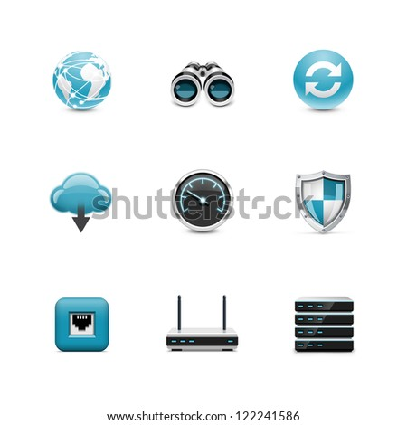 Network and wireless icons - stock vector