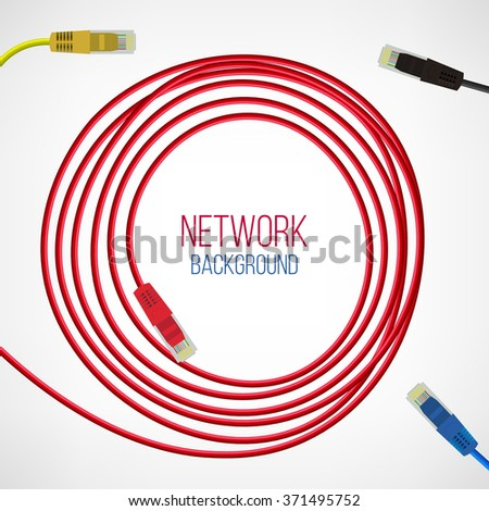 Network Background. Patch Cord. Network Connection. Internet. Abstract Colorful Wire Background. Ethernet For Enterprise Networks. Vector Illustration - stock vector