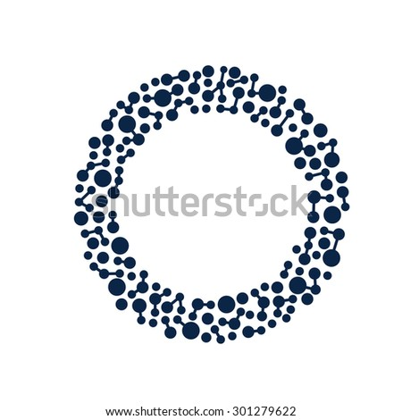Network circle dots and lines - stock vector