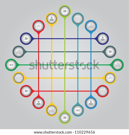 Network concept - document sharing illustration with icons - stock vector