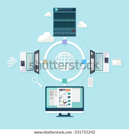 Network concept. Flat design. - stock vector