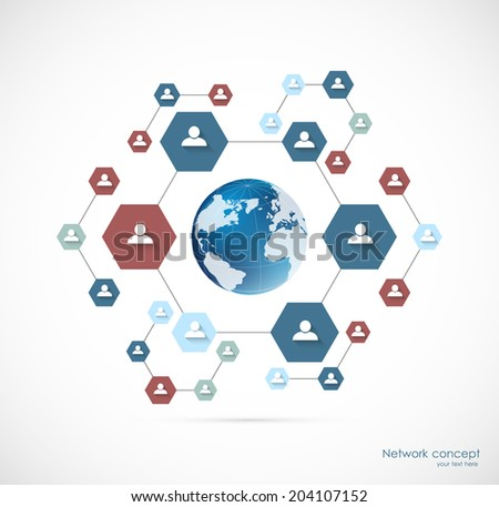 Network concept with hexagons