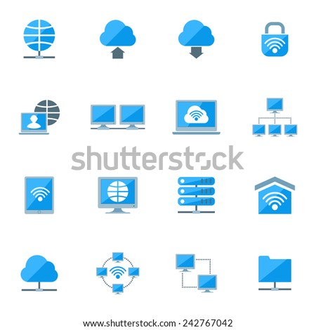 Network database configuration cloud server security icons set isolated vector illustration - stock vector