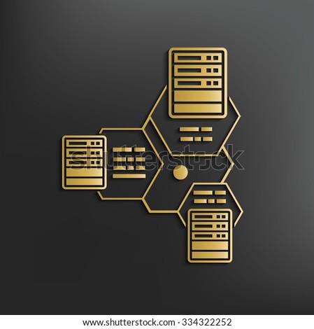Network,Database server on dark background,clean vector - stock vector