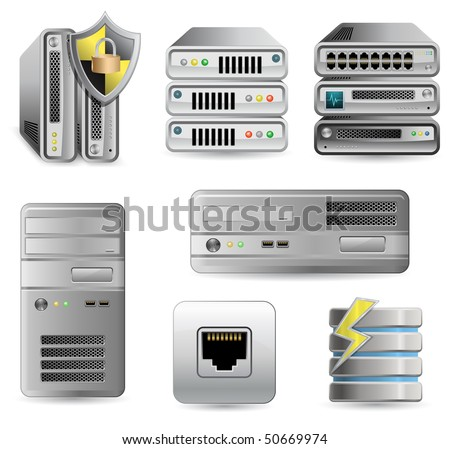 Network Equipment Set. Network Firewall, Router, Switch or Server. Server defender. - stock vector