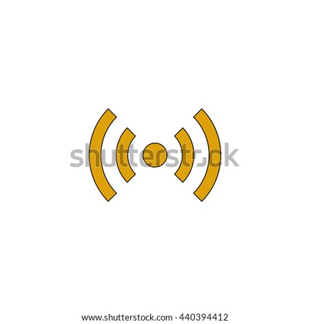 network Flat yellow thin line symbol on white background. Vector icon