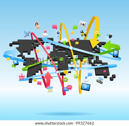 Network, Global Communication concept - stock vector