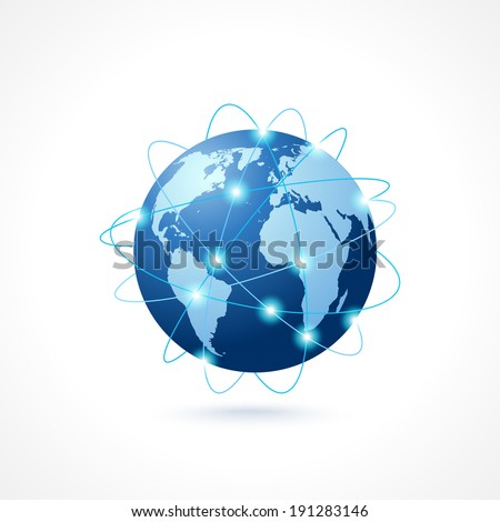 Network globe sphere earth map icon social media technology concept vector illustration - stock vector