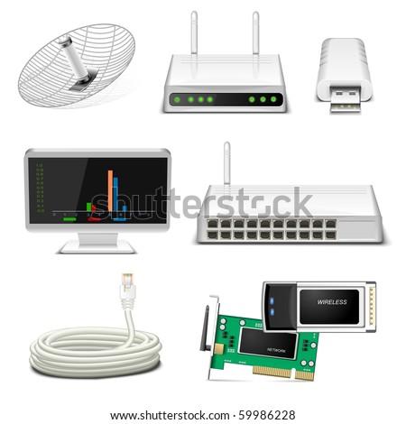 network hardware icon set - stock vector