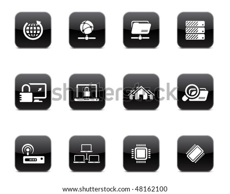 Network icon set - stock vector
