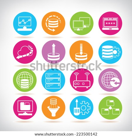 network icons, colorful circle buttons set - stock vector