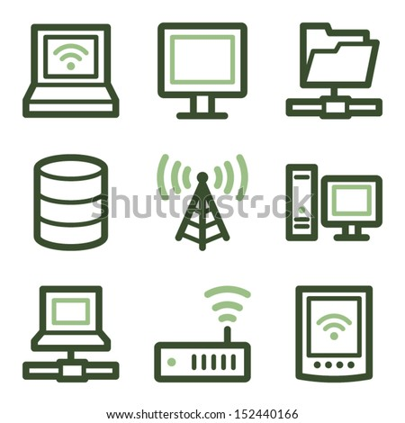 Network icons, green line contour series - stock vector