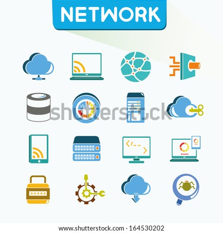 network icons set, vector, color icons, vector - stock vector