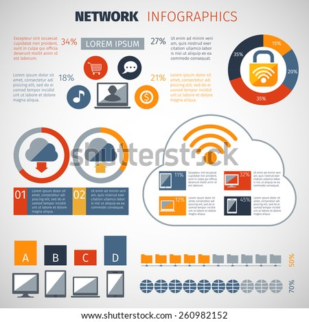 Network infographics set with chart and computer database configuration elements vector illustration - stock vector