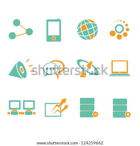 network, internet icon set - stock vector
