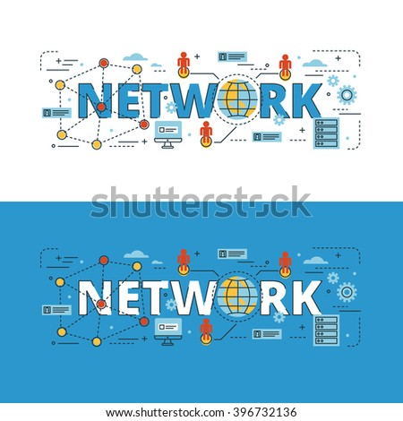 Network lettering flat line design with icons and elements for book cover, report header, presentation,illustration, infographics, printing, website banner and landing page.