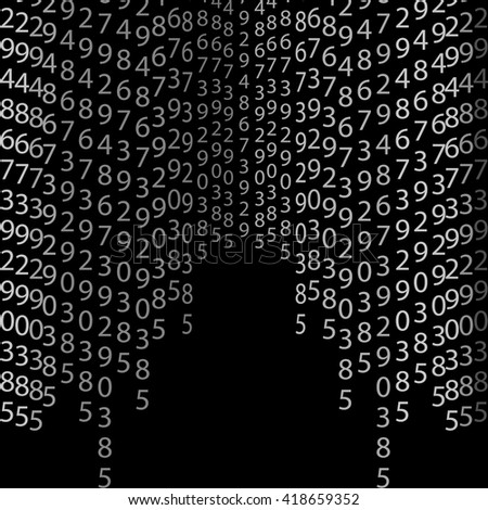 Network matrix coding program row order concept code vector encoding algorithm cyberspace symbol tech binary stream data light element digital numerical typography black vertical gray technology  - stock vector