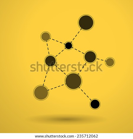network molecules on yellow background icon