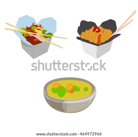 Network of Asian cuisine. Food in boxes