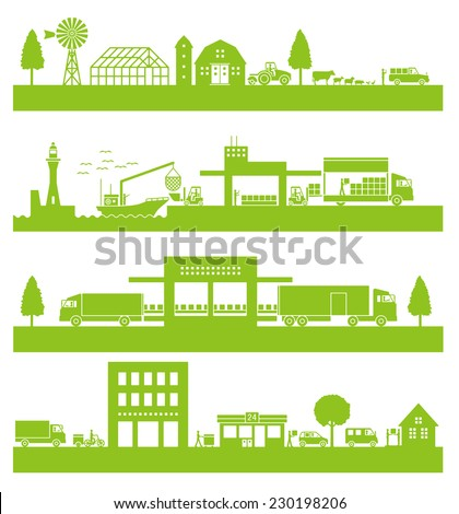 Network of the distribution. Consumer luggage from producer - stock vector