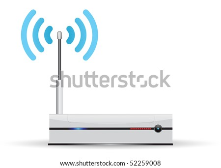 network router with wireless transmission - stock vector
