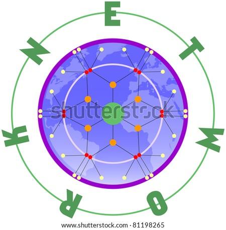 Network scheme, vector - stock vector