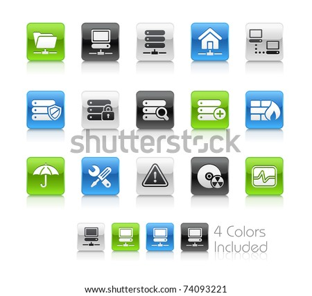 Network, Server & Hosting // Clean Series -------It includes 4 color versions for each icon in different layers --------- - stock vector