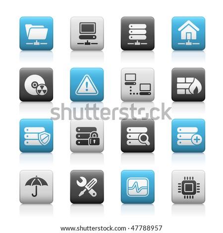 Network, Server & Hosting Web Icons // Matte Series - stock vector