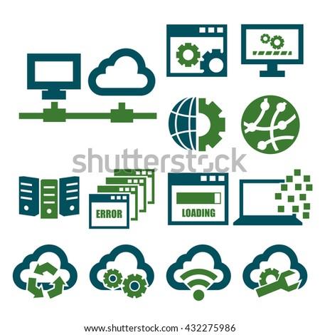 network, server icon set - stock vector