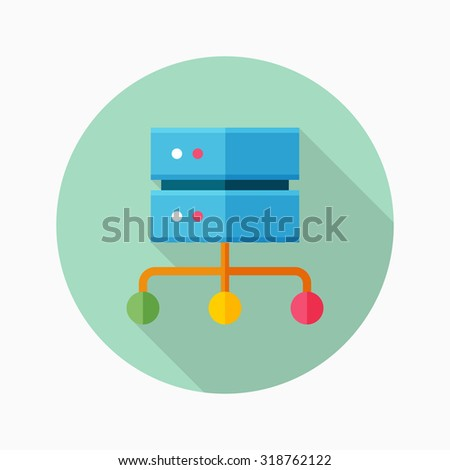 Network server icon, vector illustration. Flat design style with long shadow,eps10 - stock vector