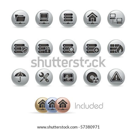 Network & Server  // Metal Round Series --- It includes 4 color versions for each icon in different layers.--- - stock vector