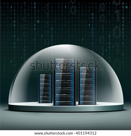 Network servers under a glass dome. Security database from hacker attacks. Stock vector illustration. - stock vector