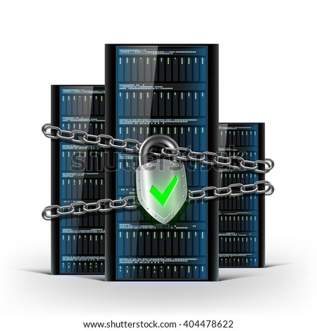 Network servers with a lock with chain. Security database. Stock vector illustration. - stock vector