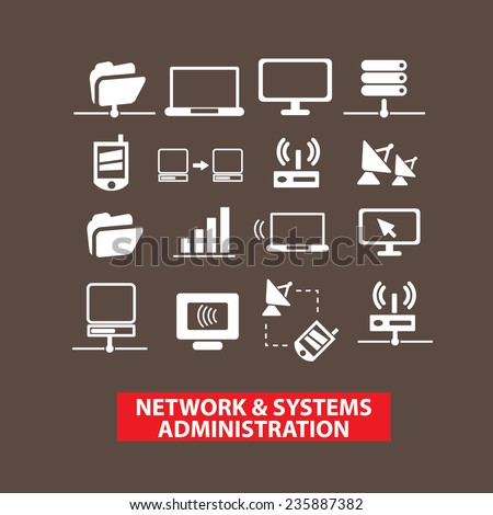 network, system, administration, system icons, signs set, vector - stock vector