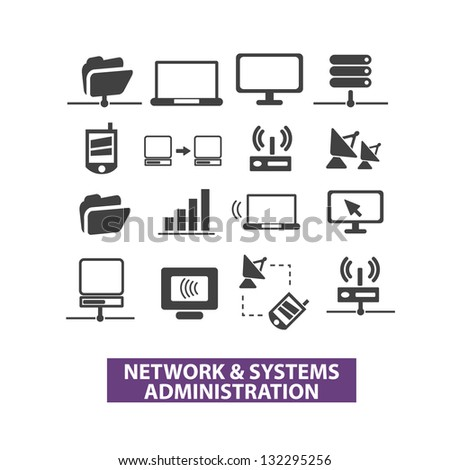 network & systems administration icons set, vector - stock vector