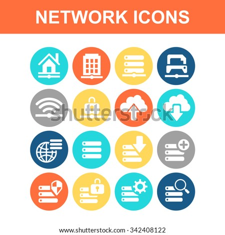 Network technology icon set - Flat Series - stock vector