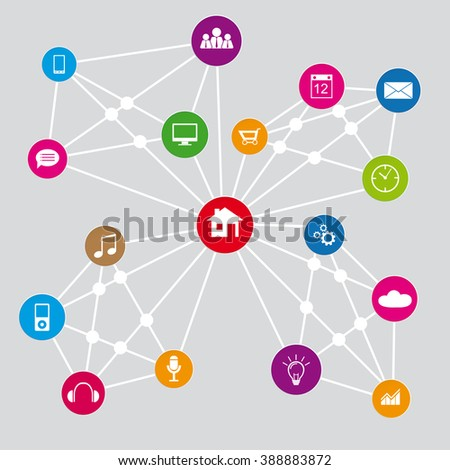 network technology infographic with icons on round colored icons - stock vector