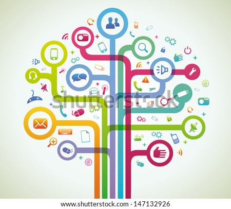 Network tree colored - stock vector
