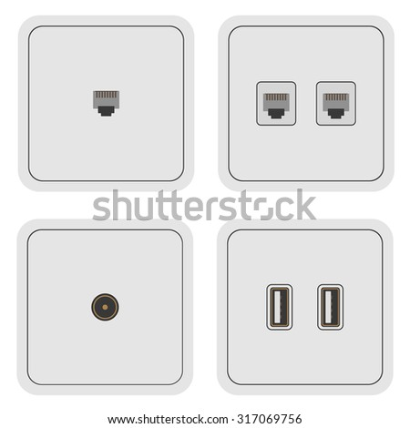 Network TV usb electric power socket AC outlet - stock vector
