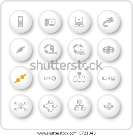 Network vector iconset - stock vector