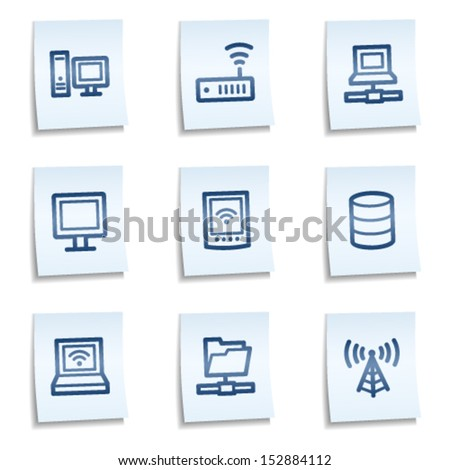 Network web icons, blue notes - stock vector