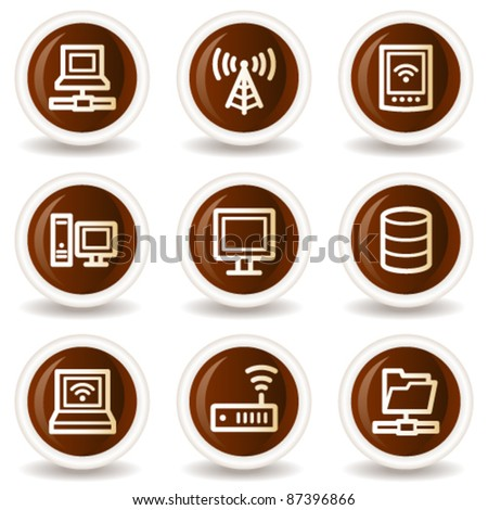 Network web icons, chocolate buttons - stock vector