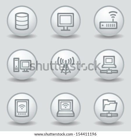 Network web icons , circle white matt buttons - stock vector