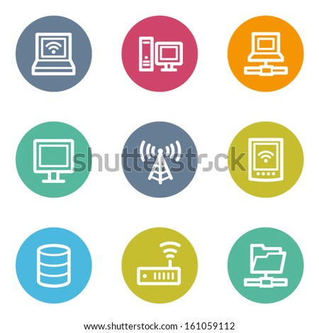 Network web icons, color circle buttons - stock vector