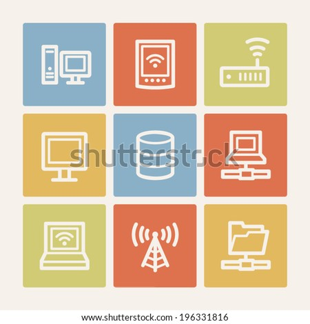 Network web icons, color square buttons - stock vector