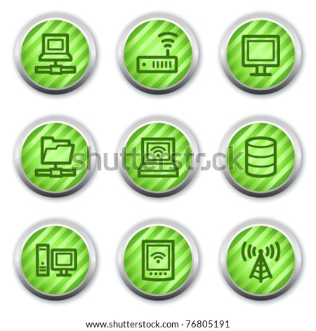 Network web icons , green glossy circle buttons - stock vector