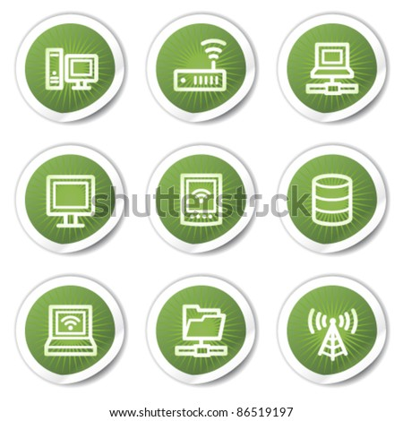 Network web icons, green stickers - stock vector